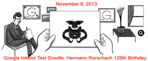 Hermann Rorschach Google Inkblot Test Doodle Honoring his 129th Birthday hermann-rorshach