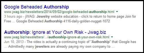 Upgrading the CMS on the jWAG Website jwag-in-google-serp-2014-09-02-84
