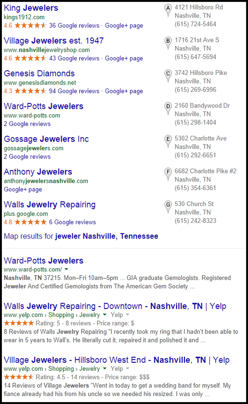 Village Jewelers Website Review 1098-jewelers-nashville-tennessee-serp-99