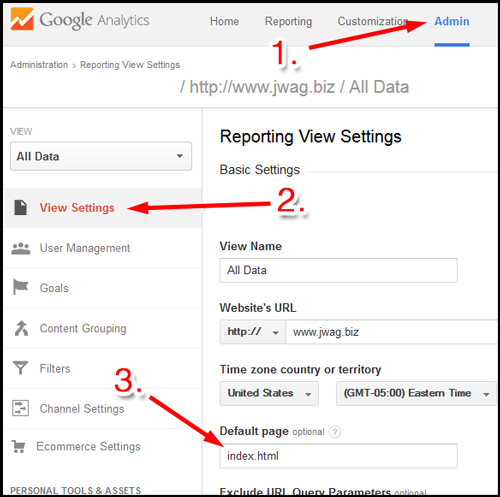 Google Analytics Users Flow Report 1107-ga-setting-default-page-76