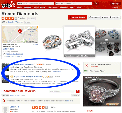 Romm Diamonds SERP Review 1110-romm-diamonds-yelp-listing-16