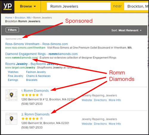 Romm Diamonds SERP Review 1110-romm-diamonds-yp-listing-62