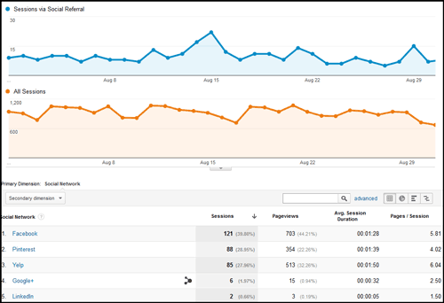 Using Google Analytics Segmenting To Analyze Local Social Network Traffic 1124-network-referral-report1-15