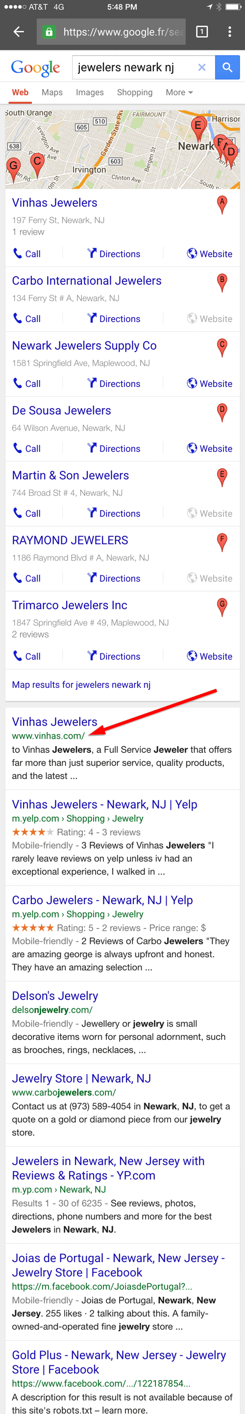 Vinhas Jewelers Mobile Website Review 1210-newark-nj-serp-78