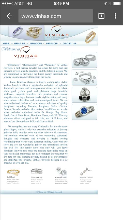 Vinhas Jewelers Mobile Website Review 1210-vinhas-home-page-2