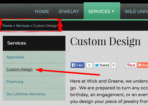Wick and Green Jewelers Website Review 1245-breadcrumb-navigation-62