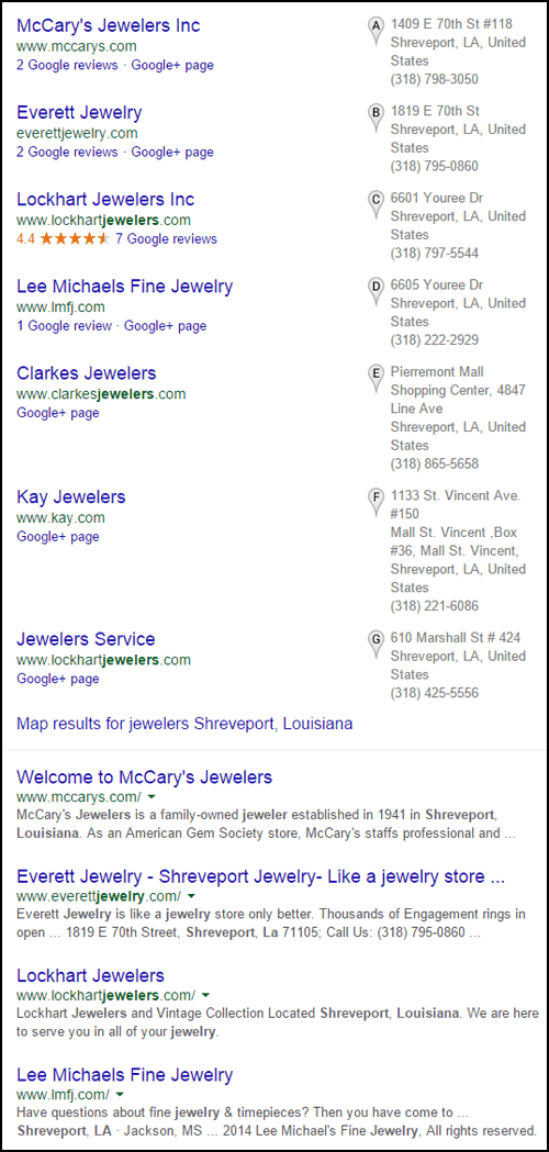 SEO Ranking Comparison Between Two Competing Jewelry Websites 1246-jewelers-shreveport-louisiana-serp-25