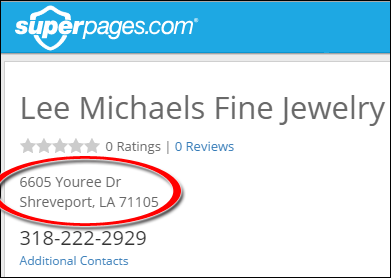 SEO Ranking Comparison Between Two Competing Jewelry Websites 1246-lee-michaels-superpages-1