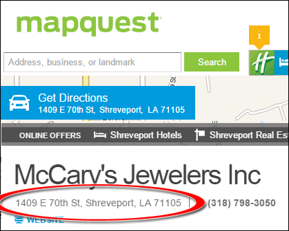 SEO Ranking Comparison Between Two Competing Jewelry Websites 1246-mccary-mapquest-12