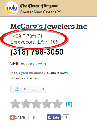 SEO Ranking Comparison Between Two Competing Jewelry Websites 1246-mccary-nola-99