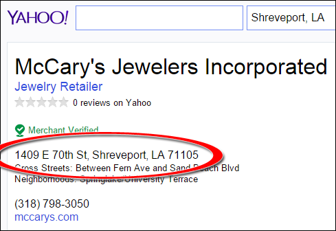 SEO Ranking Comparison Between Two Competing Jewelry Websites 1246-mccary-yahoo-2