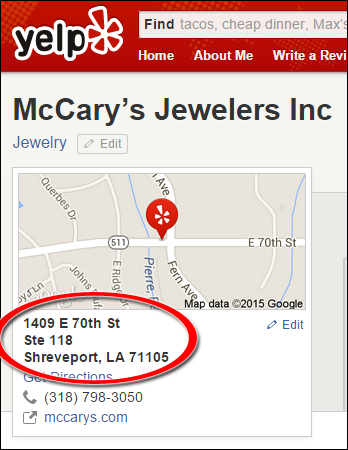 SEO Ranking Comparison Between Two Competing Jewelry Websites 1246-mccary-yelp-70