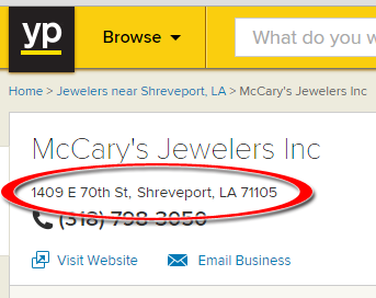 SEO Ranking Comparison Between Two Competing Jewelry Websites 1246-mccary-yp-4