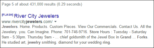 Horrible Retail Jeweler Websites Near Grand Fork 1325-river-city-serp-flash-42