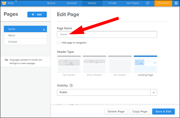 How to Edit Page Titles and Meta Descriptions in Weebly 1337-weebly-edit-page-screen-2