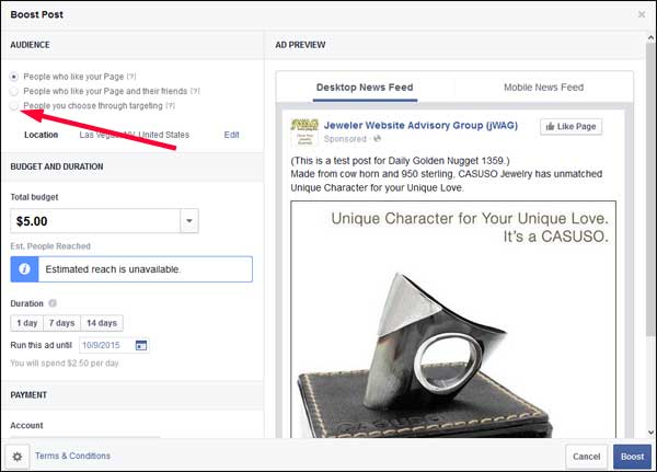 How-to Boost a Facebook Post TBT: : Holiday 2015 Run-up 1359-boost-change-audience-24