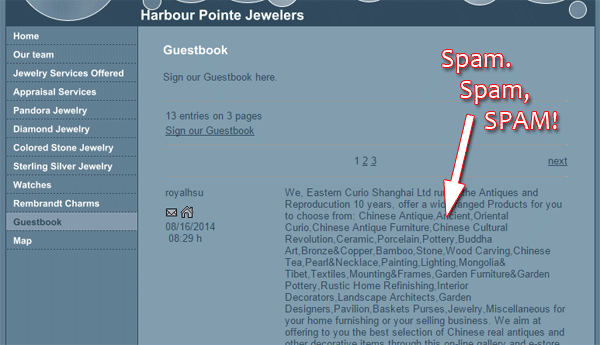 Harbour Pointe Jewelers Website Flop Fix 1385-guestbok-spam-45