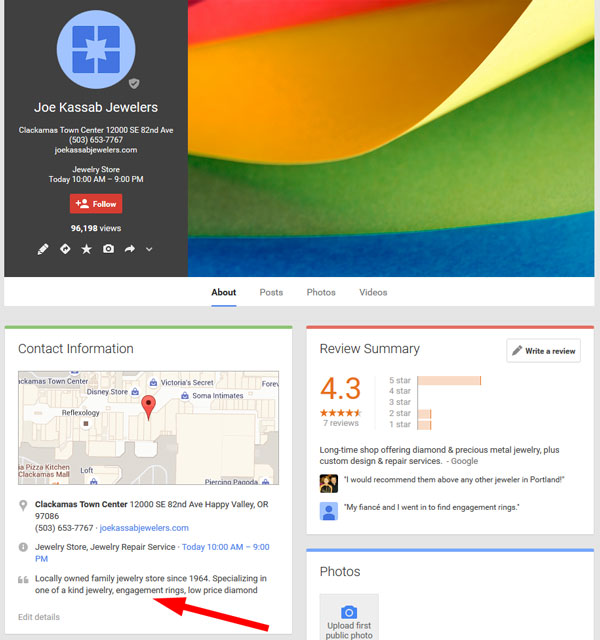 Changes to Google Maps Results and Google+ Business Listings 1400-jeweler-old-google-plus-kassab-91