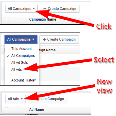 Left Unchecked, Comments On Your Facebook Ad Will Kill Its Effectiveness 1453-change-view-in-ads-manager-77