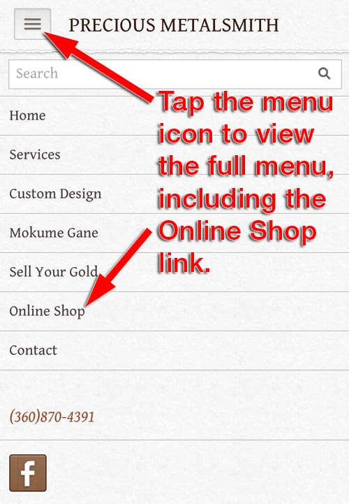 Precious Metalsmith FridayFlopFix Website Review 1507-mobile-menu-99