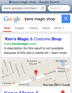 Kens Magic Shop Mobile SERP