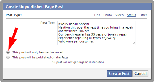 Imagining Possibilities With Facebook Retargeting and Dark Posts 3134-1052-dark-post-status