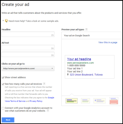 Setting up Google AdWords Express 3545-1002-adwords-express-step2
