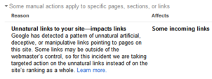 Screen shot of Google Manual Action with partial penalty