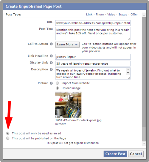 Imagining Possibilities With Facebook Retargeting and Dark Posts 456-1052-dark-post-link