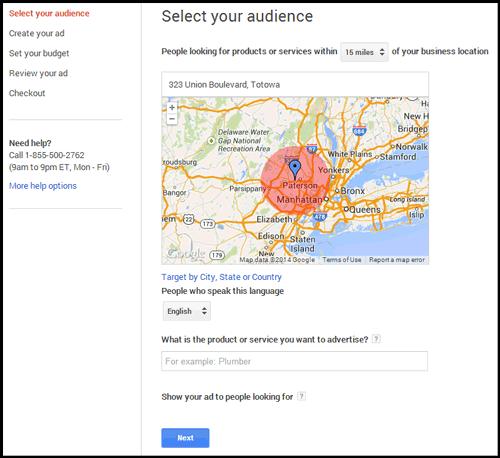 Setting up Google AdWords Express 5012-1002-adwords-express-step1