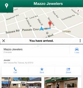 Arriving at Mazzo Jewelers using Google Maps GPS