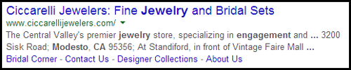Ciccarelli Jewelers SERP and Website Review 5925-950-serp