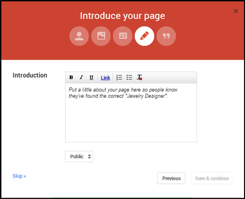 How-To Create a New Google+ Page for Non-Local Businesses 662-961-introduce-page