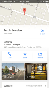 Google Maps screen grab of Fords Jewelers
