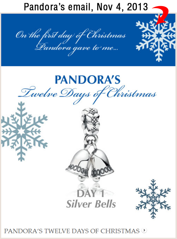 Holiday Season 2013 Email Marketing Review 6965-864-pandora-email