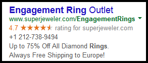 Comparing AdWords Keyword Targeting to AdWords Express 7736-1003-adwords-engagement-ring-ad