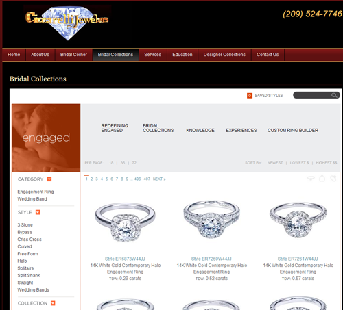 Ciccarelli Jewelers SERP and Website Review 888-950-bridal-collections