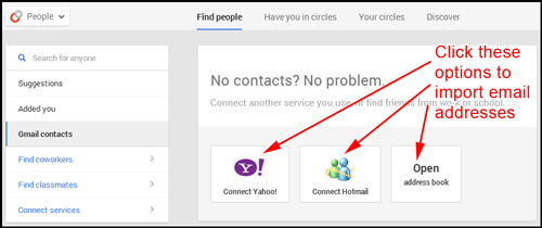How to Get Started on Google Plus on Your First Day 9085-936-click-to-import-emails