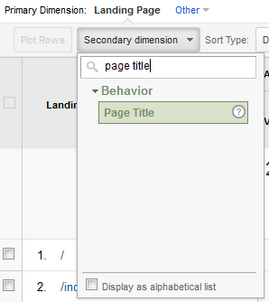 Simple Use of GA Landing Page Report to search for Keyword Ranking Data 931-878-secondary-dimension-page-title