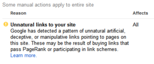 Screen shot of Google Manual Action with complete website penalty