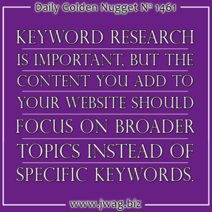 Keywords and Content: Working Together to Establish Expertise in a Topic daily-golden-nugget-1461-23